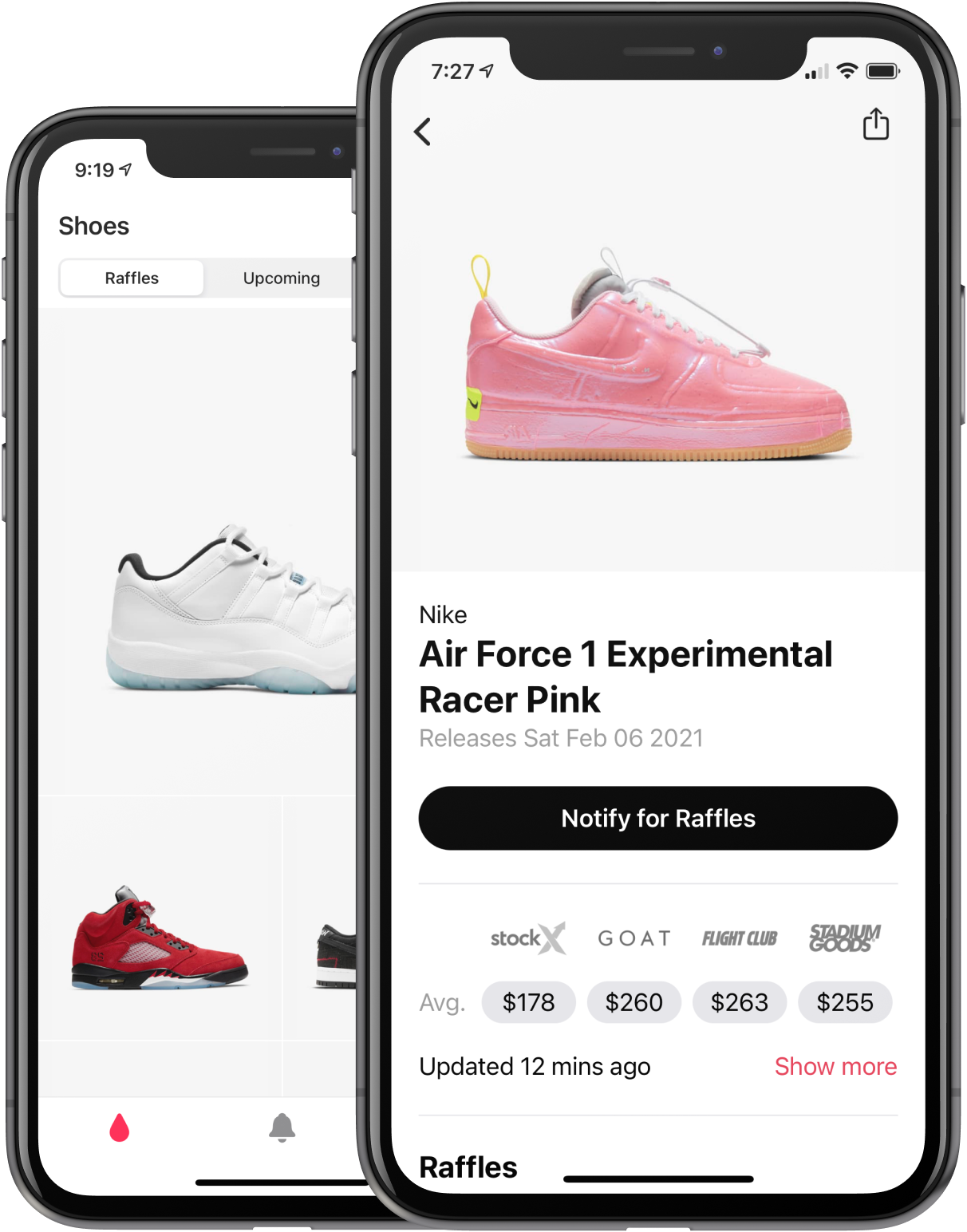 Real-time shoe sneaker pricing data